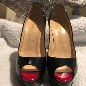 Christian Louboutin Patent Leather Red Peep Toe
